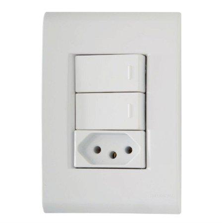 Conjunto 4X2 2 interruptores simples 10A 250V + 1 tomada 2P+T 20A 250V Tramontina
