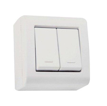 Conjunto caixa com 2 interruptores simples 10A 250V Tramontina