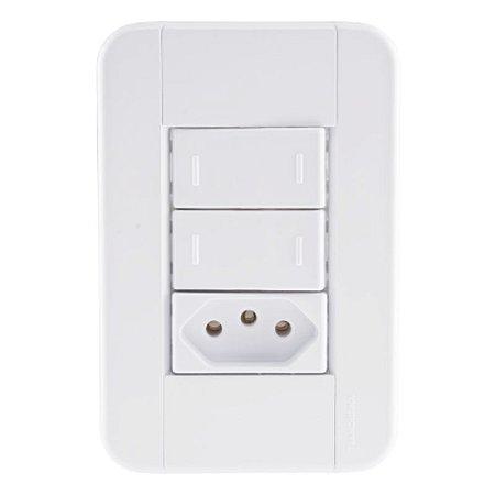 Conjunto 4X2 2 interruptores paralelos 10A 250V + 1 tomada 2P+T 10A 250V Tramontina
