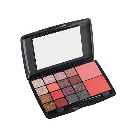 Paleta de Sombras e Blush Hello com 18 Cores com Espelho - Luisance