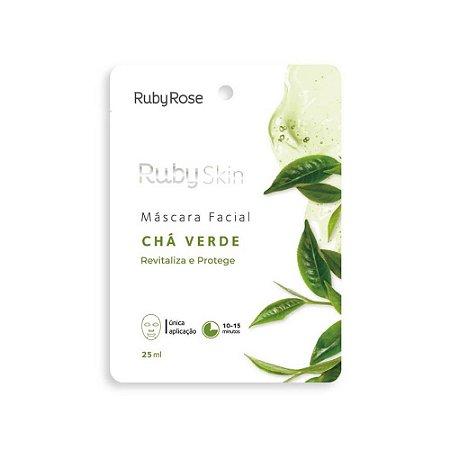 Máscara Facial de Tecido Ruby Skin Chá Verde - Ruby Rose