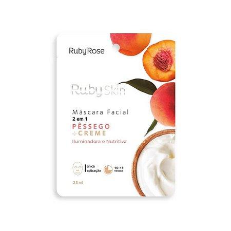 Máscara Facial de Tecido Ruby Skin Pêssego e Creme - Ruby Rose