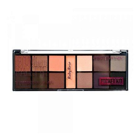 Paleta de Sombras Boom Matte 12 Cores + Primer - Ruby Rose