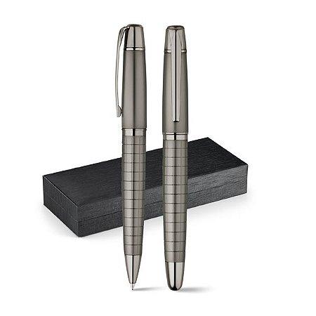 Conjunto de roller e esferográfica Metal Esferográfica: 1,5km de escrita Em estojo almofadado