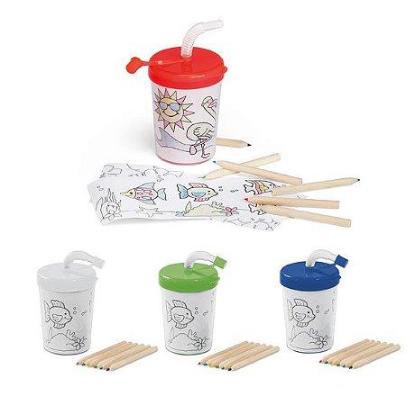 Copo p/ Viagem PP e PS c/ Canudo Flexível 3 Desenhos p/ Colorir (6 mini lápis de cor inclusos) 200 ml