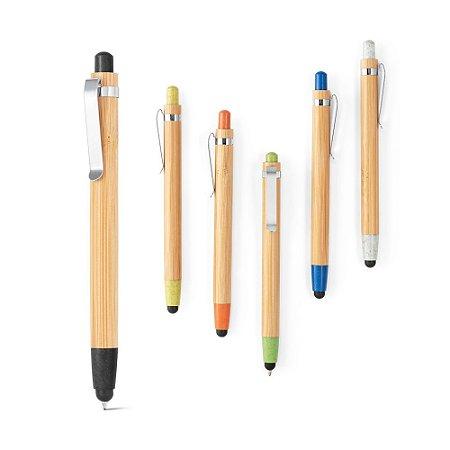 Esferográfica Bambu Clipe de metal 1,5 km de escrita Elementos em fibra de trigo e ABS Ponteira touch