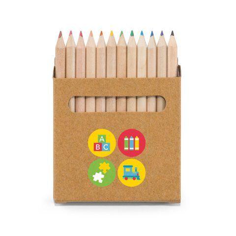 Caixa de cartão com 12 mini lápis de cor Cartão