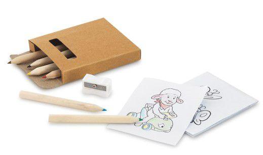 Kit para pintar em caixa de cartão Cartão Incluso 6 mini lápis de cor, 1 apontador e 15 cartões para pintar