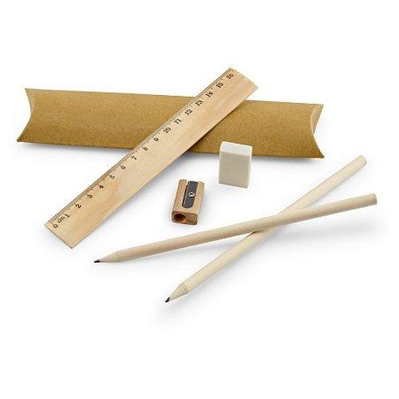 Kit de escrita Incluso régua de 16,5 cm, 2 lápis de grafite, 1 borracha e 1 apontador Com bolsa em cartão