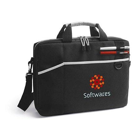 Pasta para notebook 600D Para notebook até 156'' Interior forrado e almofadado Com 2 bolsos frontais e alça de ombro ajustável Com suporte para esferográficas (não inclusas)