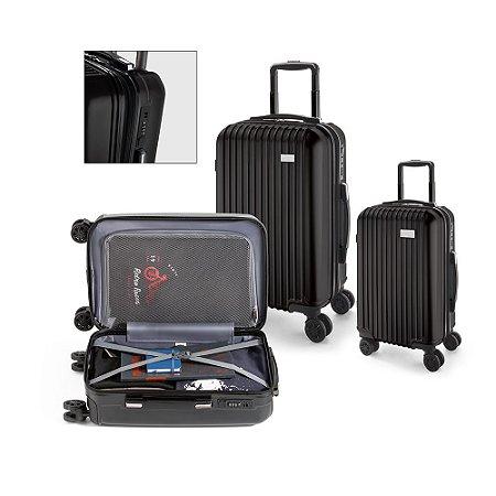 Conjunto de 2 malas de viagem executivo ABS e PET Interior forrado, com divisória 4 rodas duplas giratórias