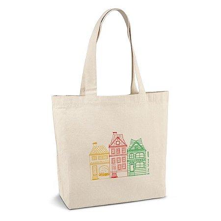 Sacola 100% algodão canvas: 280 g/m² Com bolso interior e alças de 65 cm