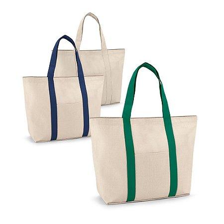 Sacola 100% algodão canvas: 280 g/m² Bolso bolso frontal e bolso interior com zíper Com fecho magnético e alças de 60 cm