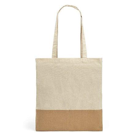 Sacola 100% algodão: 160 g/m² Detalhe em juta Alças de 65 cm