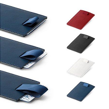 Porta cartões PU Tecnologia de bloqueio RFID Fita em poliéster para retirar facilmente seus cartões