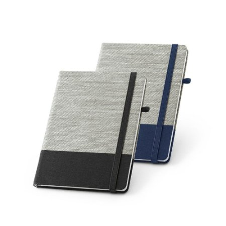 Caderno capa dura Palha e algodão canvas 96 folhas pautadas Suporte para esferográfica Esferográfica não inclusa