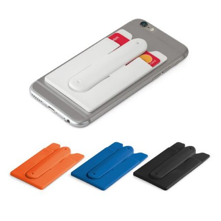 Porta cartões para celular Silicone Com autocolante no verso e suporte para smartphone