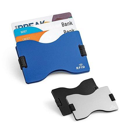 Porta cartões Alumínio Acabamento mate Com tecnologia de bloqueio RFID Fita elástica em poliéster Até 12 cartões
