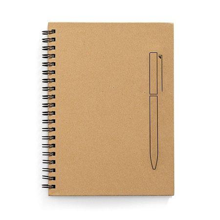 Caderno B6 capa dura Papel kraft 70 folhas não pautadas papel pedra de 120 g/m² Imã na capa que funciona como um suporte de esferográfica Esferográfica não inclusa