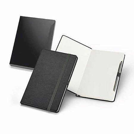 Caderno C sintético Capa dura Com 96 folhas não pautadas Incluso esferográfica de metal Fornecido com caixa presente