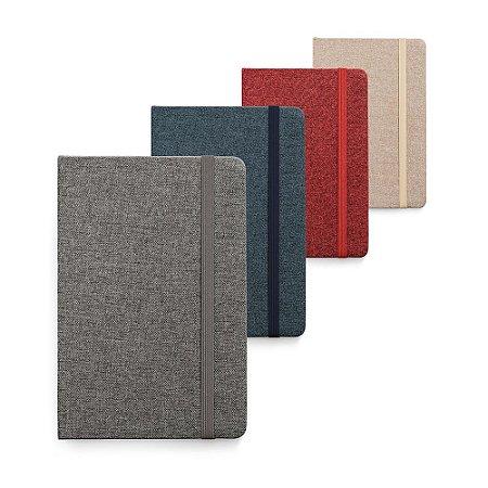 Caderno capa dura Tecido em poliéster 80 folhas pautadas cor marfim