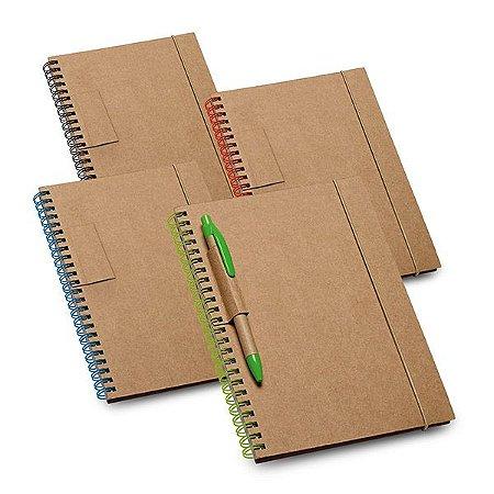 Caderno Cartão Capa dura Com 60 folhas pautadas de papel reciclado Esferográfica não inclusa