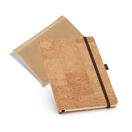 Caderno capa dura A5 Cortiça Com porta esferográfica e 80 folhas não pautadas cor marfim Fornecido em embalagem em non-woven