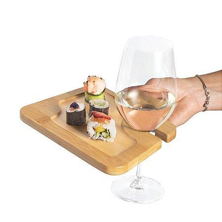 Prato Bambu c/ suporte para copo Ideal para servir aperitivos Fornecido em luva de cartão Food grade