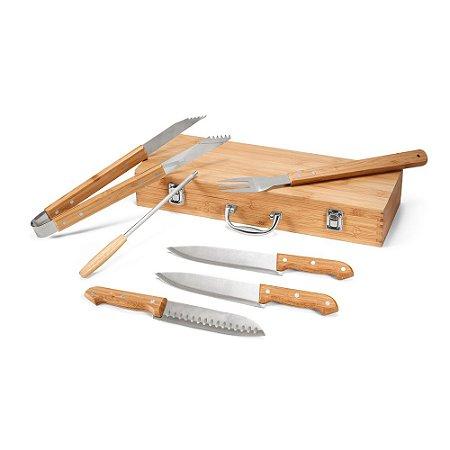 Kit churrasco Aço inox e bambu 6 peças em estojo de bambu Food grade