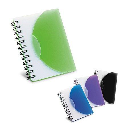 CadernoCaderno. PP semi-rígido. Com 80 folhas não pautadas. 78 x 108 mm