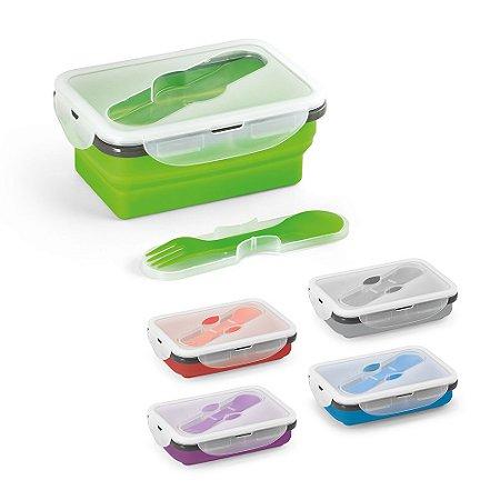 Marmita retrátil Silicone e PP Com 1 compartimento e talher 2 em 1 (garfo e colher) Capacidade: 640 ml Apta para microondas (retirar a tampa) Food grade