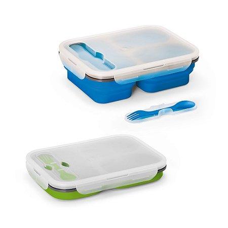 Marmita retrátil Silicone e PP Com 3 compartimentos e talher 2 em 1 (garfo e colher) Capacidade: 2 x 390 ml + 700 ml Apta para microondas (retirar a tampa) Food grade