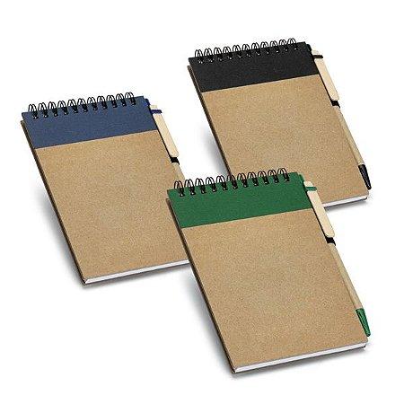 Caderno Cartão Capa dura Com 60 folhas não pautadas de papel reciclado Incluso esferográfica