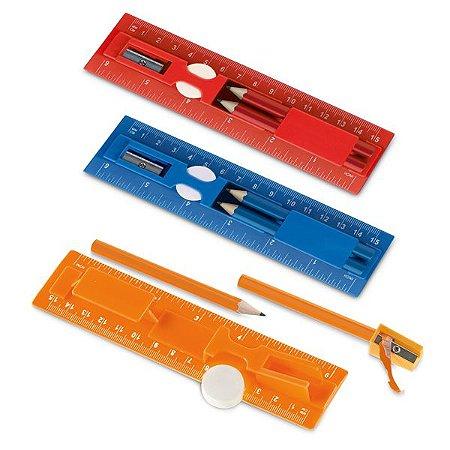 Kit de escrita PS Incluso régua de 15 cm, 2 mini lápis, 1 borracha e 1 apontador