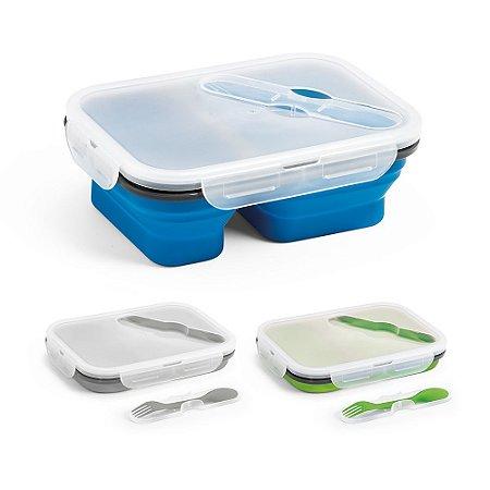 Marmita retrátil Silicone e PP Com 2 compartimentos e talher 2 em 1 (garfo e colher) Capacidade: 480 ml + 760 ml Apta para microondas (retirar a tampa) Food grade