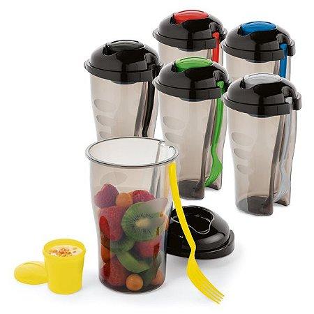 Copo p/ Salada PP c/ Garfo e Molheira - Capacidade: 850 ml Apta p/ Microondas (retirar a tampa)