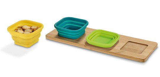 Base de mesa com 3 potes Bambu e silicone Incluso caixa de cartão Food grade