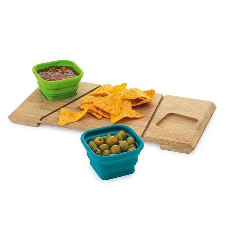 Base de mesa com 2 potes Bambu e silicone Incluso caixa de cartão Food grade