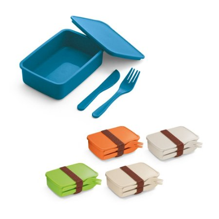 Marmita Fibra de bambu e PP Com 2 talheres: garfo e faca Fecha com banda elástica Apto para microondas (retirar a tampa) Food grade