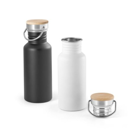 Squeeze Aço Inox c/ Tampa em Bambu - Capacidade: 540 ml - Fornecido em caixa