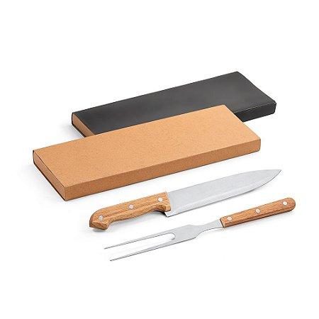 Kit churrasco Aço inox e bambu 2 peças em caixa kraft Food grade