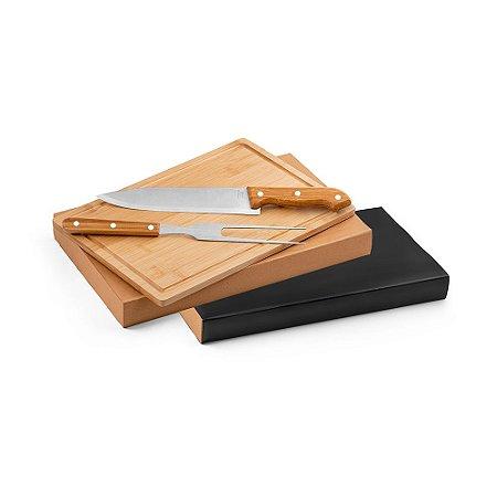 Kit churrasco Aço inox e bambu Tábua e 2 peças em caixa kraft Food grade