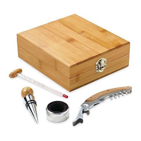 Conjunto para vinho Bambu e zinco Saca-rolhas com canivete de sommelier, termómetro, rolha e gargantilha