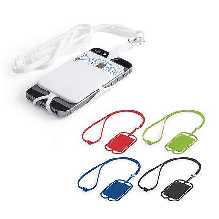 Porta cartões Silicone Com cordão e suporte para celular