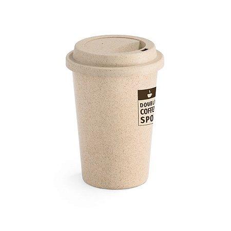 Copo para viagem Fibra de bambu e PP Com tampa Capacidade até 450 ml Food grade