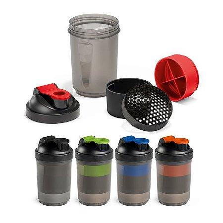 Shaker PP e PE c/ 2 Compartimentos p/ Guardar Suplementos Adicionais (320 ml e 150 ml) c/ Escala de Mmedição até 500 ml/16 ft oz - Capacidade: 630 ml