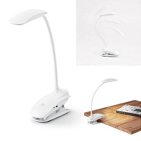 Luminária de Mesa ABS LED COB c/ mola, braço flexível e botão tátil com 3 modos de luz (fraco, médio e forte) Autonomia até 20 horas Incluso cabo USB
