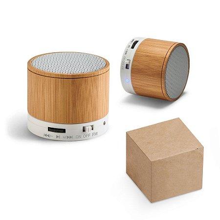 Caixa de som com microfone Bambu Com transmissão por bluetooth, ligação stereo 3,5 mm e leitor de cartões TF Autonomia até 3h Capacidade: 300mAh
