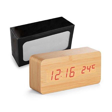 Relógio MDF c/ Calendário, alarme e termómetro Incluso 4 pilhas AAA, 1 pilha CR2032 e cabo USB Incluso caixa presente
