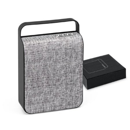 Caixa de som com microfone ABS e tecido em poliéster